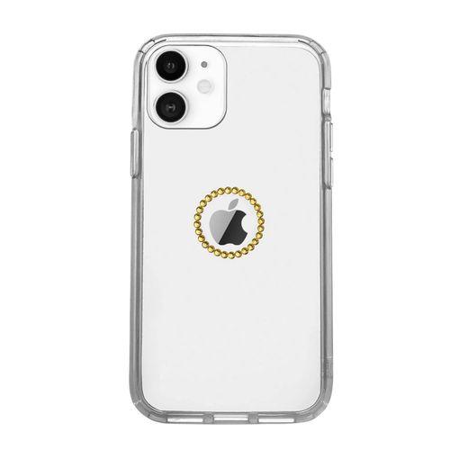 Capa-iPhone-12-Logo-de-Cristais-Dourada