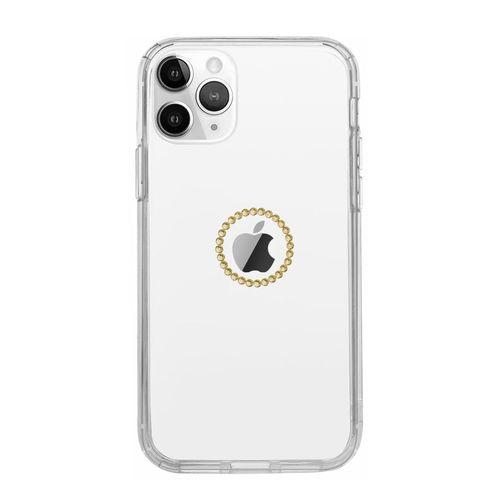 Capa-iPhone-12-Pro-Logo-de-Cristais-Dourada